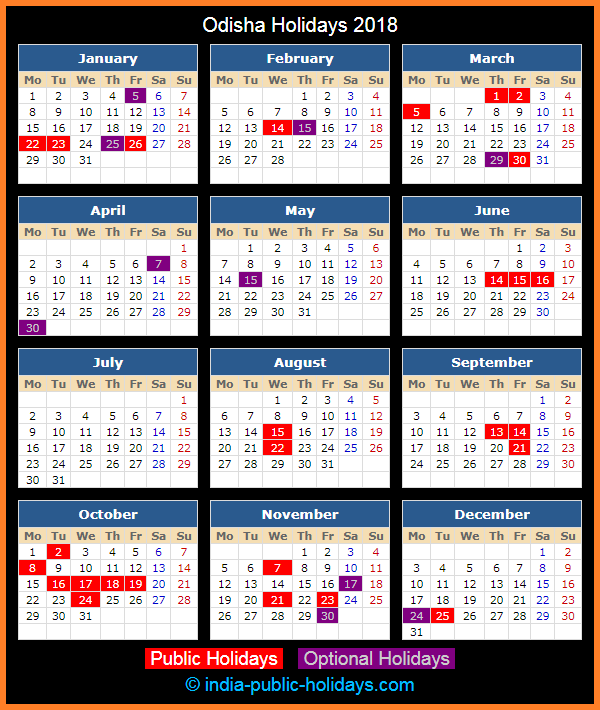 Odisha Holiday Calendar 2018