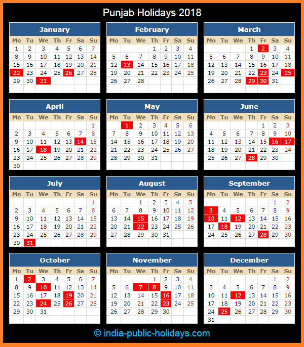 Punjab Holiday Calendar 2018