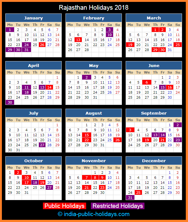 Rajasthan Holiday Calendar 2018