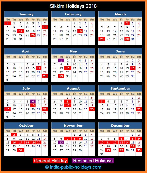 Sikkim Holiday Calendar 2018