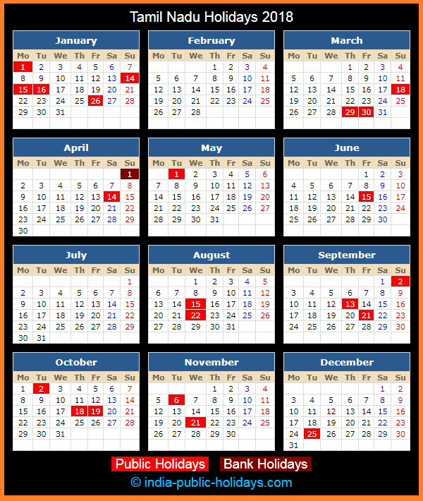 Tamil Nadu Holiday Calendar 2018