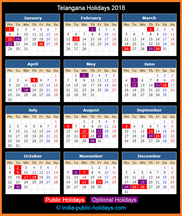 Telangana Holiday Calendar 2018