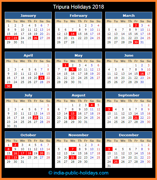 Tripura Holiday Calendar 2018