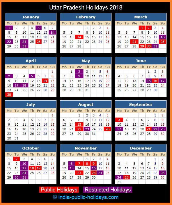Uttar Pradesh Holidays 2018