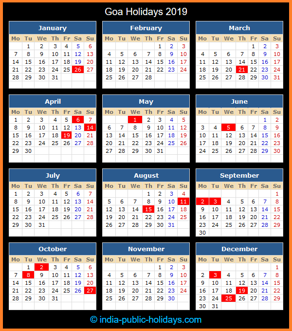 Goa Holiday Calendar 2019