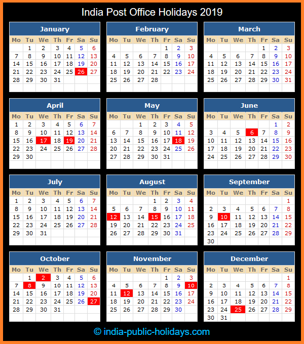 Post Office Calendar 2019 India Post Office Holidays 2019