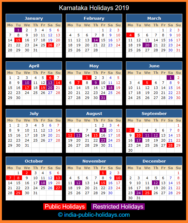 Karnataka Holiday Calendar 2019