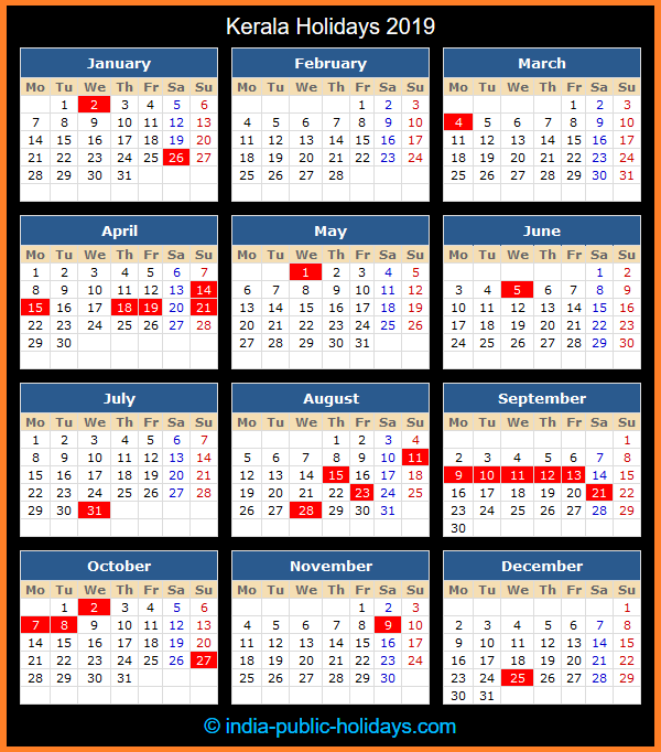 Kerala Holiday Calendar 2019