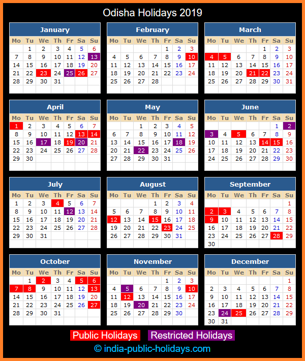 Odisha Holiday Calendar 2019