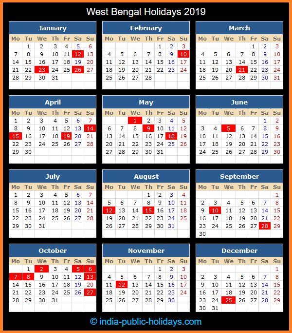 West Bengal Holiday Calendar 2019