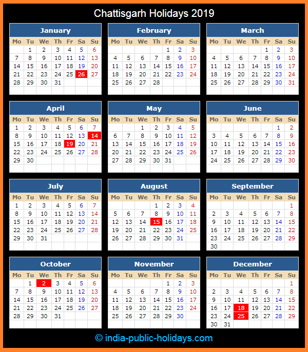 Chattisgarh Holiday Calendar 2019