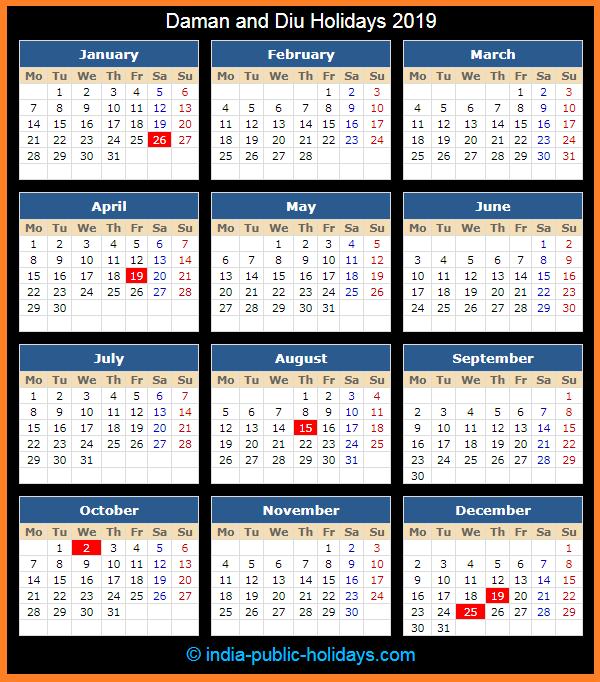 Daman and Diu Holiday Calendar 2019