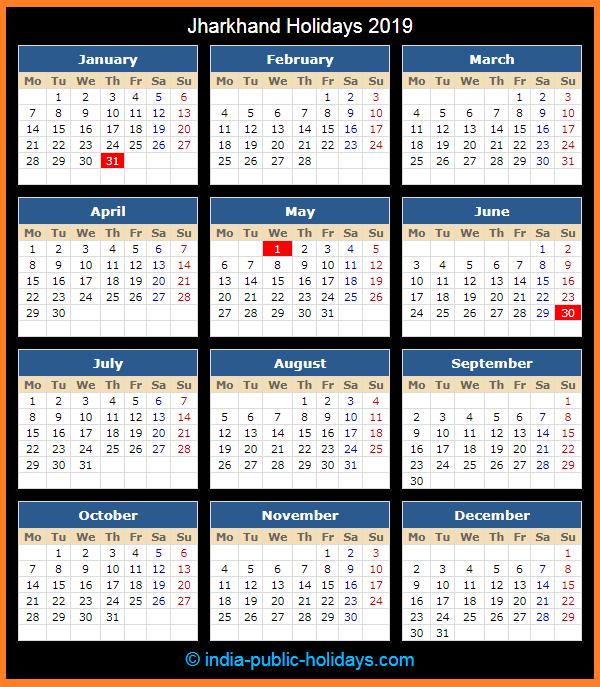 Jharkhand Holiday Calendar 2019