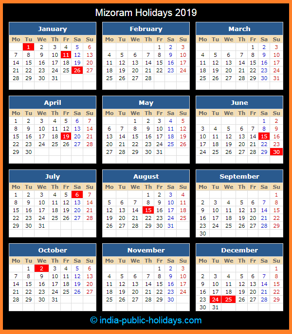 Mizoram Holiday Calendar 2019