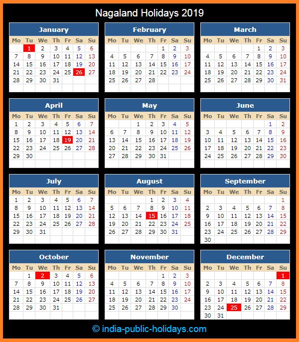 Nagaland Holiday Calendar 2019