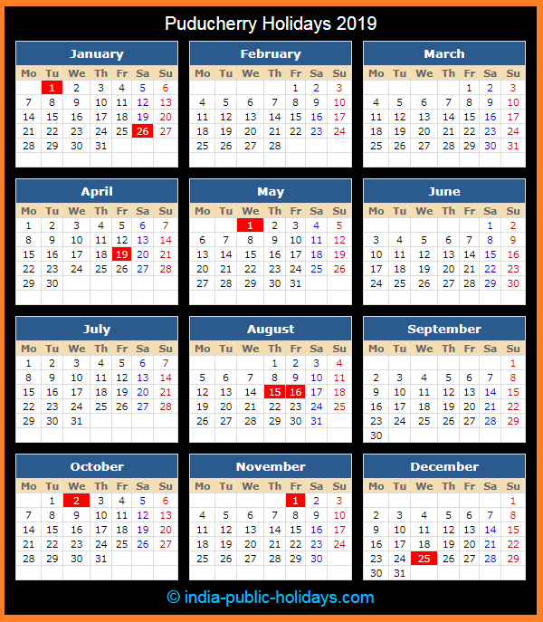 Puducherry Holiday Calendar 2019