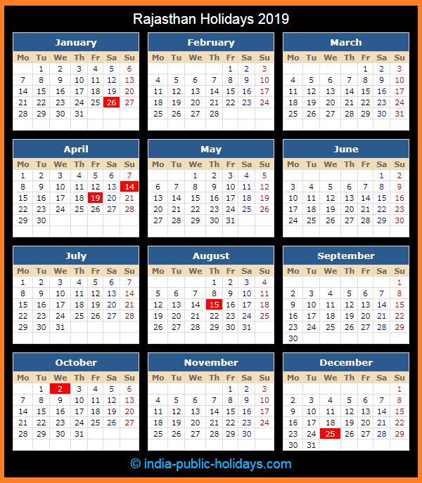Rajasthan Holiday Calendar 2019