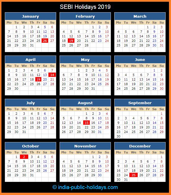 SEBI Holiday Calendar 2019