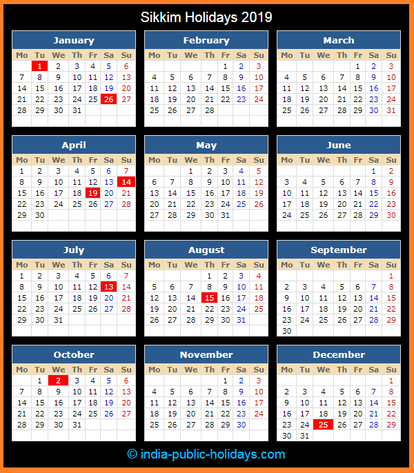 Sikkim Holiday Calendar 2019