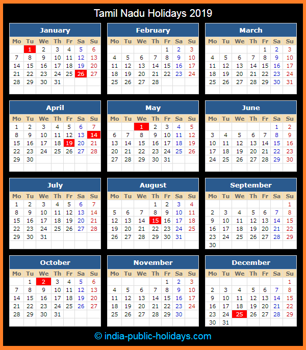 tamil nadu holiday calendar 2019