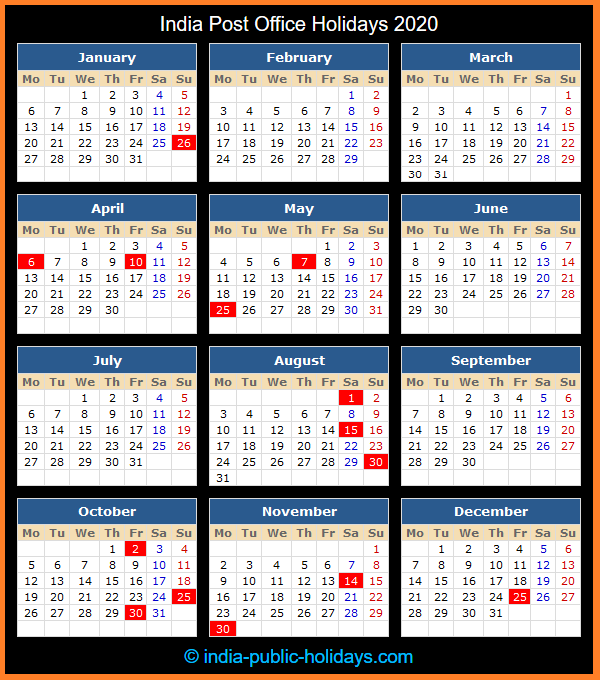 India Post Office Holiday Calendar 2020