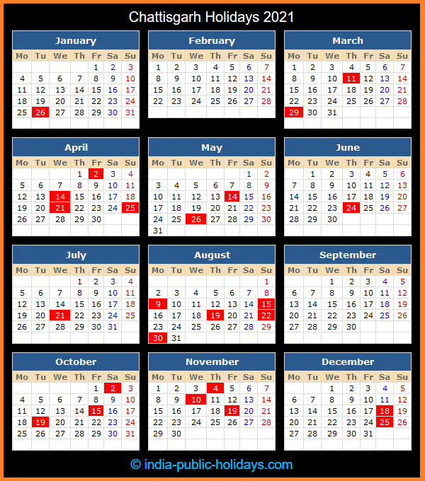 Chattisgarh Holiday Calendar 2021