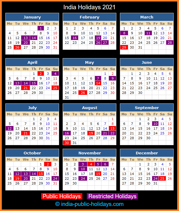 India Holiday Calendar 2021