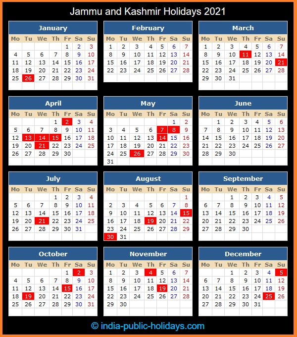 Jammu and Kashmir Holiday Calendar 2021