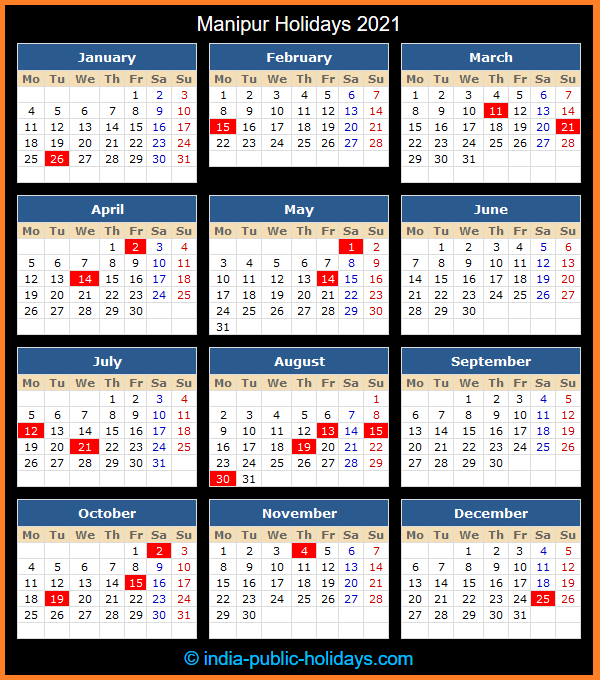 Manipur Holiday Calendar 2021