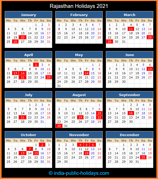 Rajasthan Holiday Calendar 2021