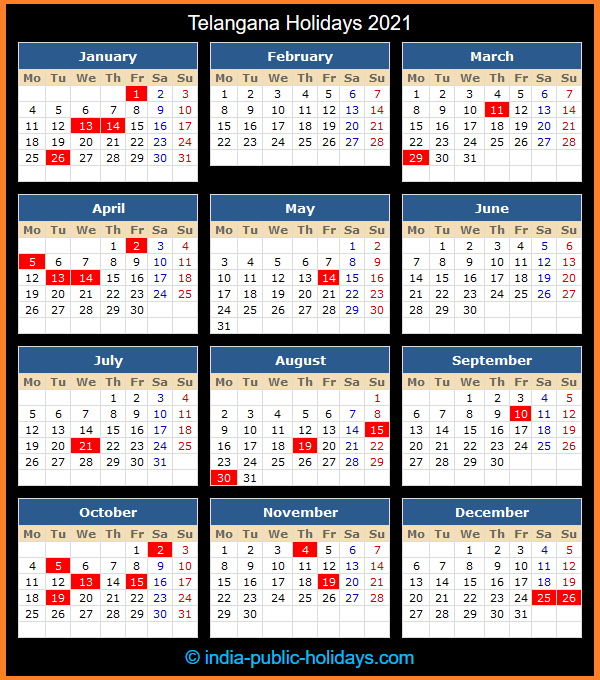 Telangana Holiday Calendar 2021